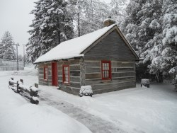 exterior of cabin in winter